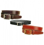 "Tory Leather 1 1/2"" Double EDGE Stitching Belt with Antique Roller Buckle"