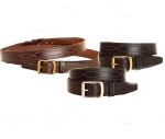 "Tory Leather 1 1/2"" Belt with Stitched Triple Pattern with Brass Buckle"