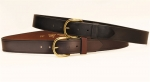 Tory Leather 1 1/2 Plain Leather Belt with Brass Buckle