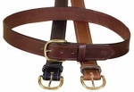 Tory Leather 1 1/2 Stitched Belt with Brass Buckle