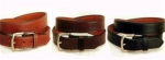 Tory Leather 1 1/4' Double and Stitched Belt with Nickel Buckle