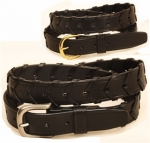 Tory Leather 1 1/4' Laced Leather Belt with Nickel Buckle