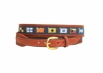 "Tory Leather 1-1/4"" Oakbark Rolled Leather Belt With Billet & Navy Rectangular Nautical Flags Belt"
