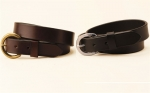 "Tory Leather 1 1/4"" Plain Strap Belt with Round Buckle"