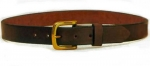 "Tory Leather 1 1/4"" Plain Belt With Square Brass Buckle"