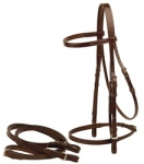 "Tory Leather 1/2"" Flat English Bridle Buckle Bit Ends and Flat Reins"