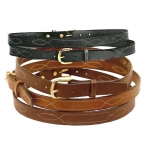 "Tory Leather 1"" Belt with Triple Stitched Pattern"