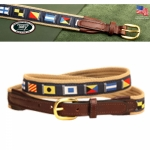 "Tory Leather 1"" Narrow Nautical Flags Ribbin & Web with Leather Billets Belt"