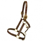 "Tory Leather 1"" Triple Stitched Halter with Flat Throat"
