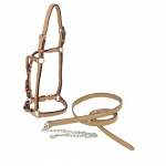 "Tory Leather 3/4"" Horse Western Show Halter w/Lead"