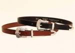 Tory Leather 3/4 Plain Creased Belt With 3-Pc Engraved Silver Buckle Set