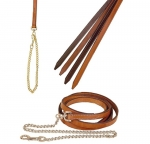 "Tory Leather 3/4"" Single Ply Lead with Fine Nickel Chain"