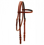 "Tory Leather 5/8"" Brow Band Headstall with Buckle Bit Ends - Chestnut, 5/8"