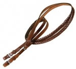 "Tory Leather 5 Plait Braided 60"" English Rein With Buckle Bit Ends"