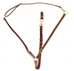 Tory Leather Adjustable Training Martingale with Neck Strap with Brass Hardware