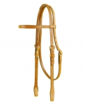 Tory Leather Basket Weave Bridle Leather Brow Band Headstall