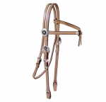 Tory Leather Black Star Silver Brow Knot Headstall