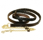 "Tory Leather Braided Lead with 24"" Solid Brass Chain"
