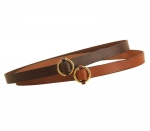 "Tory Leather Bridle Leather 1 1/4"" Belt with Solid Brass Ring Buckle"