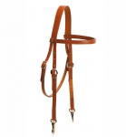 Tory Leather Brow Band Headstall with Nickel Snap Ends