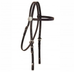Tory Leather Brow Band Headstall with 3-Piece Silver Buckle Set