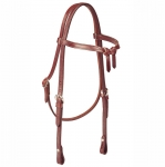 Tory Leather Brow Knot Headstall with Sewn Buckles