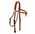 Tory Leather Brow Knot Headstall with 3-Piece Silver Buckle Set