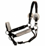 Tory Leather Buffalo Congress Style Silver Show Halter with Lead