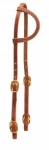 Tory Leather Cowboy Old Time Silding Ear Headstall With Solid Brass Buckle Bit Ends