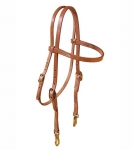 Tory Leather Harness Leather Brow Band Headstall with Brass Snap Ends