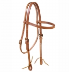 Tory Leather Harness Leather Brow Band Headstall with Solid Brass Buckles and Tie Ends