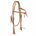 Tory Leather Harness Leather Brow Knot Headstall with Solid Brass Buckles and Tie Ends