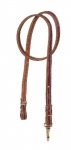 Tory Leather Harness Leather Long Tie Down with Nickel Hardware