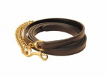 "Tory Leather Havana 10' Double and Stitched Stud Lead with 30"" Soild Brass Chain"