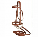 Tory Leather Hunt Bridle with Laced Reins and Hook and Stud Bit Ends
