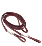 Tory Leather Long Bridle Leather Draw Rein with Girth Loops - Havana