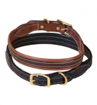 Tory Leather Milled Dog Collar with Rolled Back Center Strip