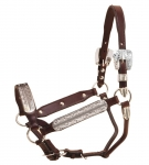 Tory Leather Morristown Congress Style Silver Show Halter with Lead