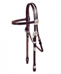 Tory Leather Motif Style Silver Brow Band Headstall