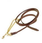 "Tory Leather Partial Rolled Lead With 24"" Fine Solid Brass Chain"