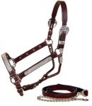 Tory Leather Pecos Bill Silver Show Halter with Lead
