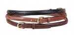 "Tory Leather Raised 3/4"" Leather Belt with Fancy Stitching"