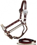 Tory Leather Rochester Silver Show Halter w/Lead