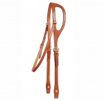 Tory Leather Shaped Ear Headstall with Sewn Buckles