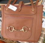 Tory Leather Small Carry All Bag with Snaffle Bit