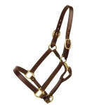 Tory Leather Triple Stitched Halter with Rolled Throat and Snap