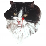 Tuxedo Cat Head Shaped Clock