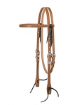 Weaver Leather Golden Brown Harness Leather Browband Headstall, Rasp