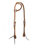 Weaver Leather Golden Brown Harness Leather Flat Sliding Ear Headstall, Rasp