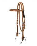 Weaver Leather Golden Brown Harness Leather Browband Headstall, Flames